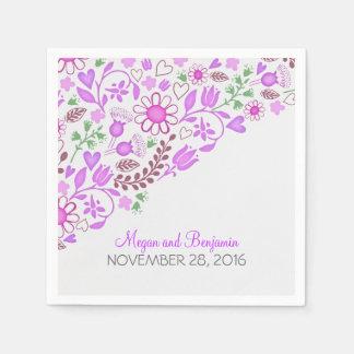 紫色の花の結婚式の紙ナプキン スタンダードカクテルナプキン