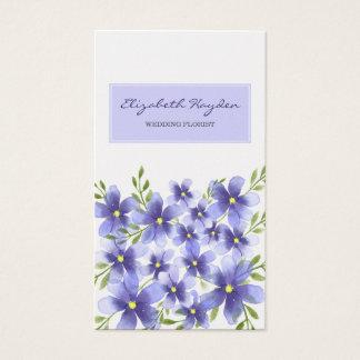 紫色の花の結婚式の花屋の名刺 名刺