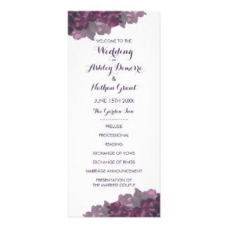 紫色の花の結婚式プログラム ラックカード
