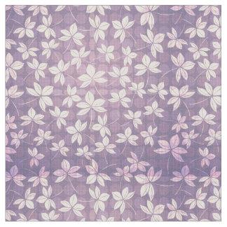 紫色の花の要素および円パターン生地 ファブリック