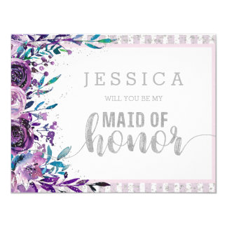 紫色の花の銀私のメイド・オブ・オーナー(花嫁付き添い人)です 10.8 X 14 インビテーションカード