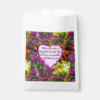 紫色の花のMATTHEWの19:26の写真のデザイン フェイバーバッグ