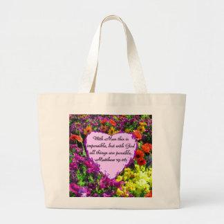 紫色の花のMATTHEWの19:26の写真のデザイン ラージトートバッグ