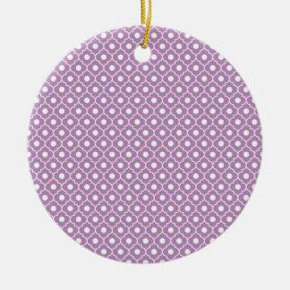 紫色の花アーガイル柄のなパターン円形のオーナメント セラミックオーナメント