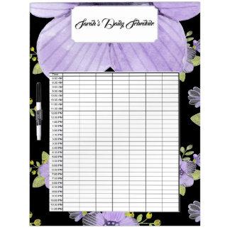 紫色の花及びバニーの毎日のスケジュール ホワイトボード
