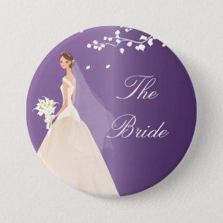 紫色の花嫁のブライダルパーティボタン 7.6CM 丸型バッジ