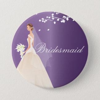 紫色の花嫁の新婦付添人のブライダルパーティボタン 7.6CM 丸型バッジ