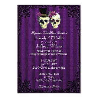 紫色の花嫁の新郎のスカルの結婚式招待状 12.7 X 17.8 インビテーションカード