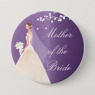 紫色の花嫁の暴徒のブライダルパーティボタン 7.6CM 丸型バッジ