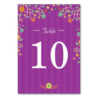 紫色の花愛鳥-結婚式のテーブル数 カード