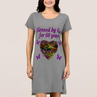 紫色の花柄の第60誕生日のデザイン ドレス