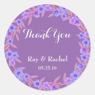 紫色の花柄は感謝していしています ラウンドシール