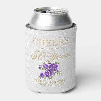 紫色の花柄-応援の(あらゆる年齢)年 缶クーラー
