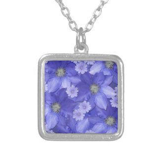 紫色の花模様 シルバープレートネックレス