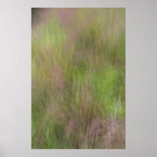 紫色の花盛りの草の抽象芸術 ポスター