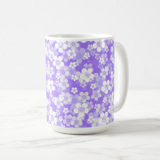紫色の花15のozのマグ コーヒーマグカップ