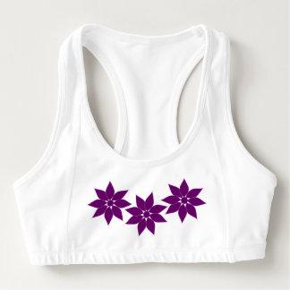 紫色の花 スポーツブラ
