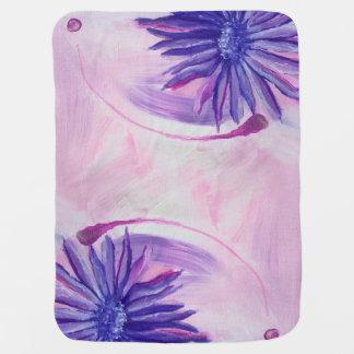 紫色の花 ベビー ブランケット