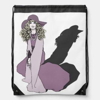 紫色の若い女の子 ナップサック