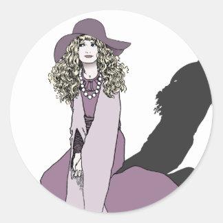 紫色の若い女の子 ラウンドシール