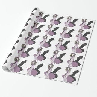 紫色の若い女の子 ラッピングペーパー