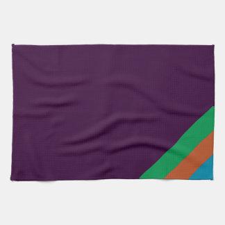 紫色の茶色がかった鋼色の緑のストライプ キッチンタオル