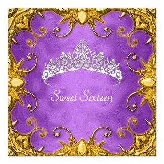 紫色の菓子16の誕生会の金ゴールドの白のティアラ カード