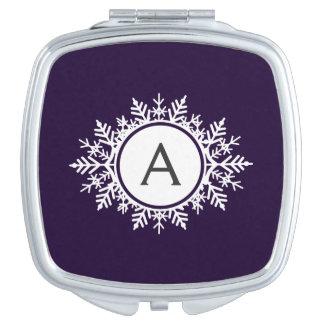 紫色の華美で白い雪片のモノグラム