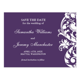 紫色の華麗さの渦巻のセーブ・ザ・デート案内 ポストカード
