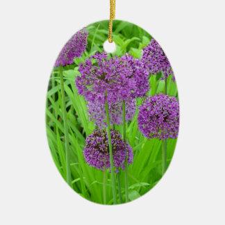 紫色の葱類の花園 セラミックオーナメント