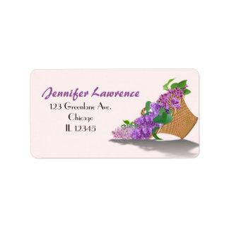 紫色の薄紫のバスケットの宛名ラベルは|カスタマイズ ラベル