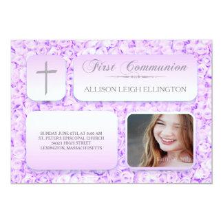 紫色の薄紫のバラの最初聖餐のカスタムの写真 カード