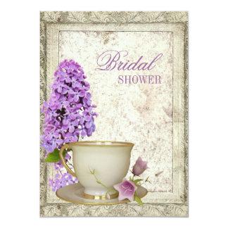 紫色の薄紫のブライダルシャワーの茶パーティの招待状 11.4 X 15.9 インビテーションカード