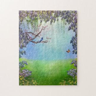 紫色の藤の春のパズル ジグソーパズル