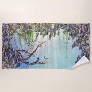 紫色の藤の春のビーチタオル ビーチタオル