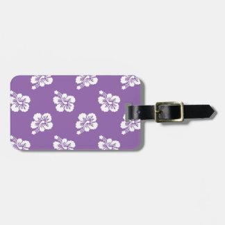 紫色の蘭および白いハイビスカスの花柄 ラゲッジタグ