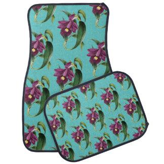紫色の蘭のティール(緑がかった色)パターン カーマット