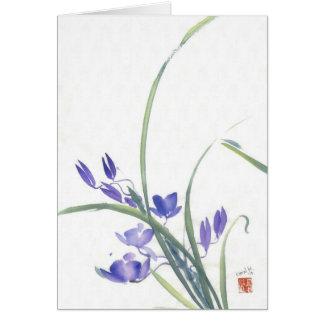 紫色の蘭の水彩画カード ノートカード