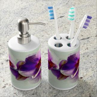 紫色の蘭の絵画 バスセット