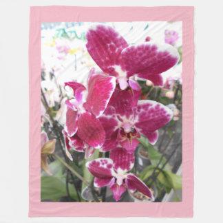 紫色の蘭 フリースブランケット