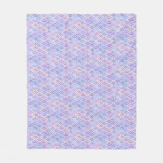 紫色の虹の人魚のパステルパターン フリースブランケット