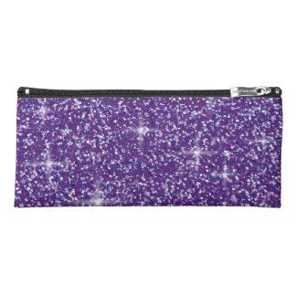 紫色の虹色のグリッター ペンシルケース