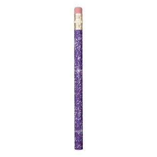 紫色の虹色のグリッター 鉛筆