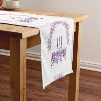 紫色の蝋燭 ショートテーブルランナー