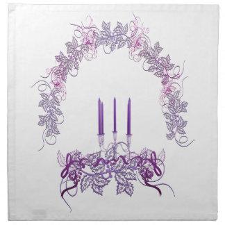 紫色の蝋燭 布製ナプキン