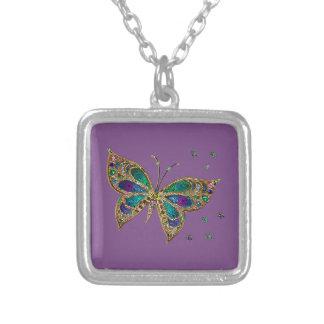 紫色の蝶ネックレス シルバープレートネックレス