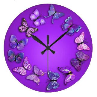 紫色の蝶ノベルティの柱時計 ラージ壁時計