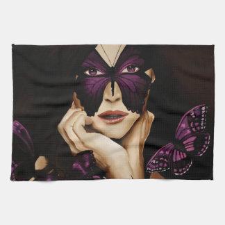 紫色の蝶マスク キッチンタオル