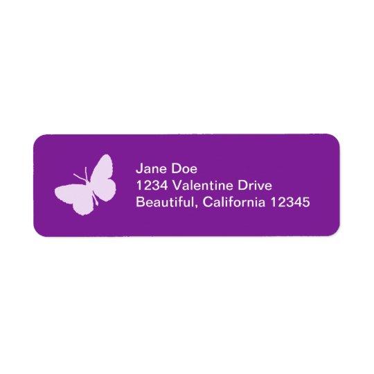 紫色の蝶宛名ラベル 返信用宛名ラベル