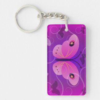 紫色の蝶長方形の倍はKeychain味方しました 長方形(両面)アクリル製キーホルダー